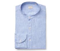 Leinenhemd 'Tailor Fit' Grandad-Kragen blau