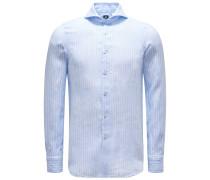 Leinenhemd 'Sergio Gaeta' Haifisch-Kragen pastellblau/weiß