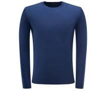 Merino R-Neck Pullover graublau