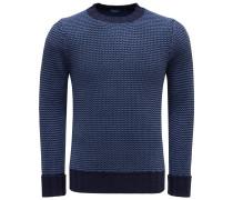 Merino R-Neck Pullover blau