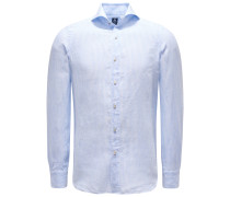 Leinenhemd 'Sergio Gaeta' Haifisch-Kragen hellblau/weiß
