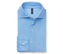 Piqué-Hemd schmaler Kragen hellblau