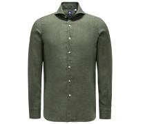 Leinenhemd 'Sergio Gaeta' Haifisch-Kragen graugrün