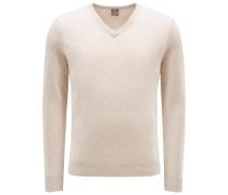 Baby-Cashmere V-Neck Pullover beige