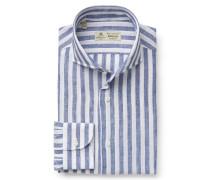 Leinenhemd 'Felice' Haifisch-Kragen weiß/graublau