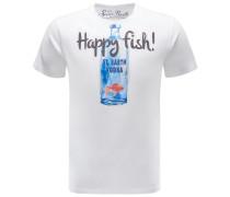 R-Neck T-Shirt 'Vodka Fish' weiß