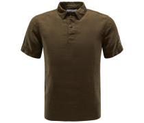 Leinen-Poloshirt oliv