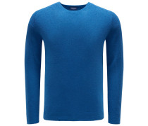 Frottee R-Neck Pullover blau