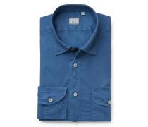 Casual Hemd 'Tailor Fit' schmaler Kragen graublau