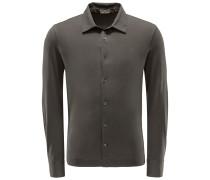 Jersey-Hemd schmaler Kragen oliv