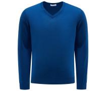 Feinstrick V-Ausschnitt-Pullover dunkelblau