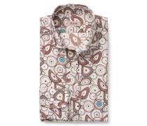 Casual Hemd schmaler Kragen braun