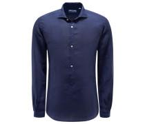 Popover-Leinenhemd 'Ray' Haifisch-Kragen dunkelblau