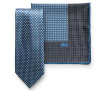 Krawattenset mit Einstecktuch blau/silber