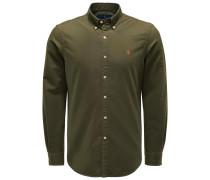 Casual Hemd Button-Down-Kragen oliv
