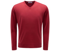 V-Ausschnitt-Pullover dunkelrot