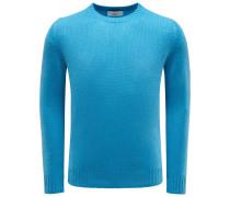 Cashmere R-Neck Pullover azurblau