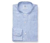 Leinenhemd Grandad-Kragen hellblau