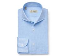 Leinenhemd 'Felice' Haifisch-Kragen hellblau