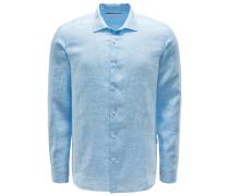 Leinenhemd 'Giles Linen' Haifischkragen hellblau