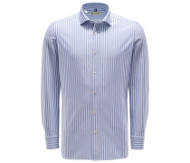 Casual Hemd schmaler Kragen graublau/weiß