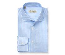 Leinenhemd 'Fabio' Haifisch-Kragen hellblau/weiß