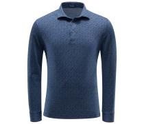 Longsleeve-Poloshirt graublau