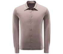 Jersey-Hemd schmaler Kragen braun
