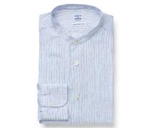 Leinenhemd Grandad-Kragen graublau