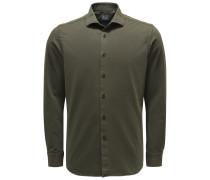 Casual Hemd 'Tailor Fit' Haifisch-Kragen dunkelgrün
