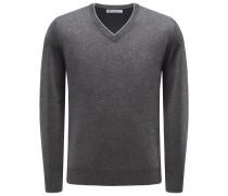 Cashmere V-Neck Pullover dunkelgrau