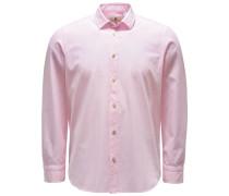 Chambray-Hemd 'Silvano Clark' schmaler Kragen rosé/weiß