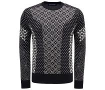 R-Neck Pullover schwarz/weiß