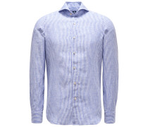 Leinenhemd 'Sergio Gaeta' Haifisch-Kragen dunkelblau/weiß