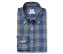 Leinenhemd Button-Down-Kragen rauchblau