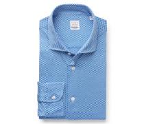 Jersey-Hemd schmaler Kragen blau