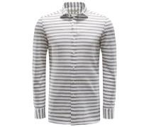 Jersey-Hemd 'Capri' Haifisch-Kragen graubraun/weiß
