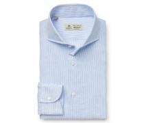 Leinenhemd 'Felice' Haifisch-Kragen hellblau/weiß