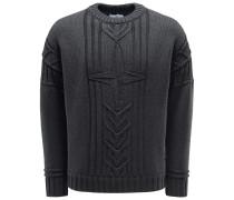 R-Neck Pullover graublau