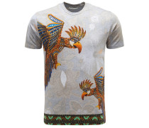 R-Neck T-Shirt hellgrau/orange