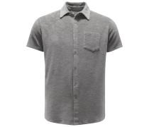 Frottee-Kurzarmhemd grau