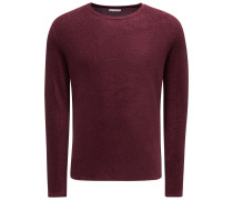 Frotteesweatshirt mit Rundhals 'Veit' bordeaux