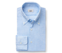 Leinenhemd Button-Down-Kragen hellblau