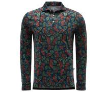 Longsleeve Poloshirt 'Aapollo' dunkelblau/grün