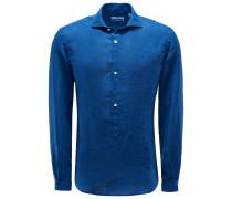 Popover-Leinenhemd 'Ray' Haifisch-Kragen blau