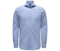 Seersucker-Hemd 'Sergio Gaeta' Haifisch-Kragen graublau/weiß
