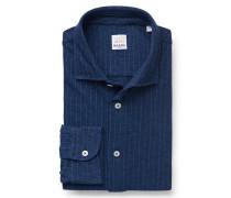 Jersey-Hemd schmaler Kragen navy