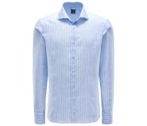 Leinenhemd 'Mivara Tailor Fit' schmaler Kragen hellblau/weiß