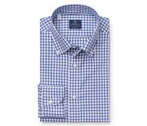 Casual Hemd 'Stefano' Button-Down-Kragen blau/weiß