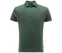 Leinen-Poloshirt dunkelgrün